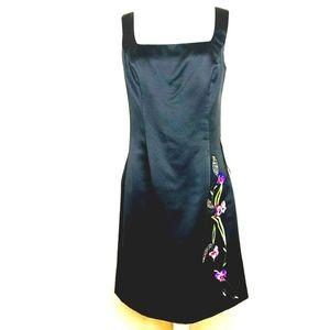 Black Dress sz 12 Evenings by Allen B. NWT Flowers